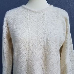 Lord and Taylor Off White Soft Wool Tunic Sweater